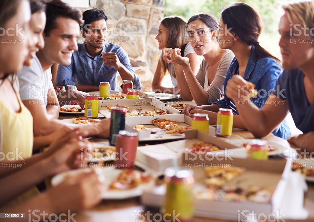 Pizza for everyone stock photo