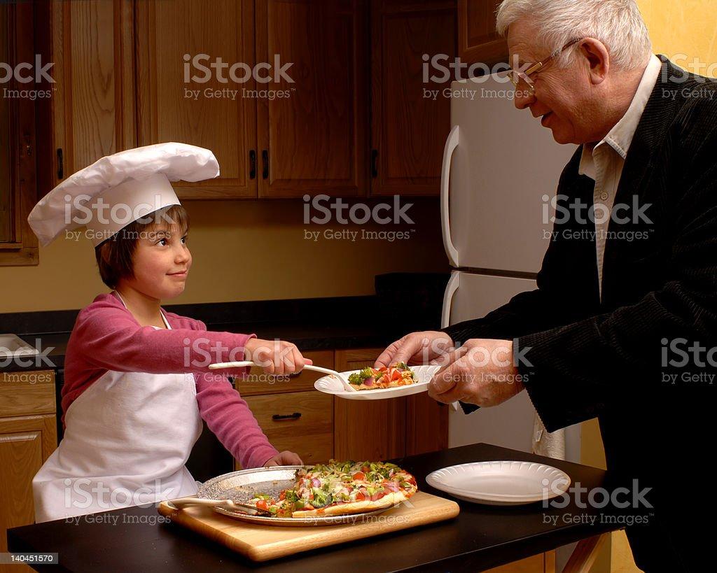 Pizza for Grandpa stock photo