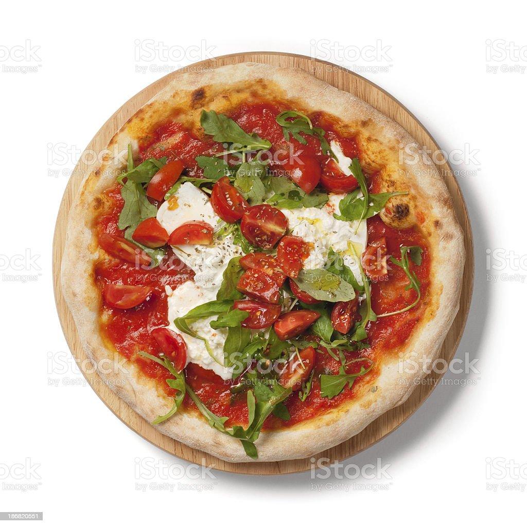 Pizza fresh tomatoes, arugula, burrata on wooden plate, white background royalty-free stock photo