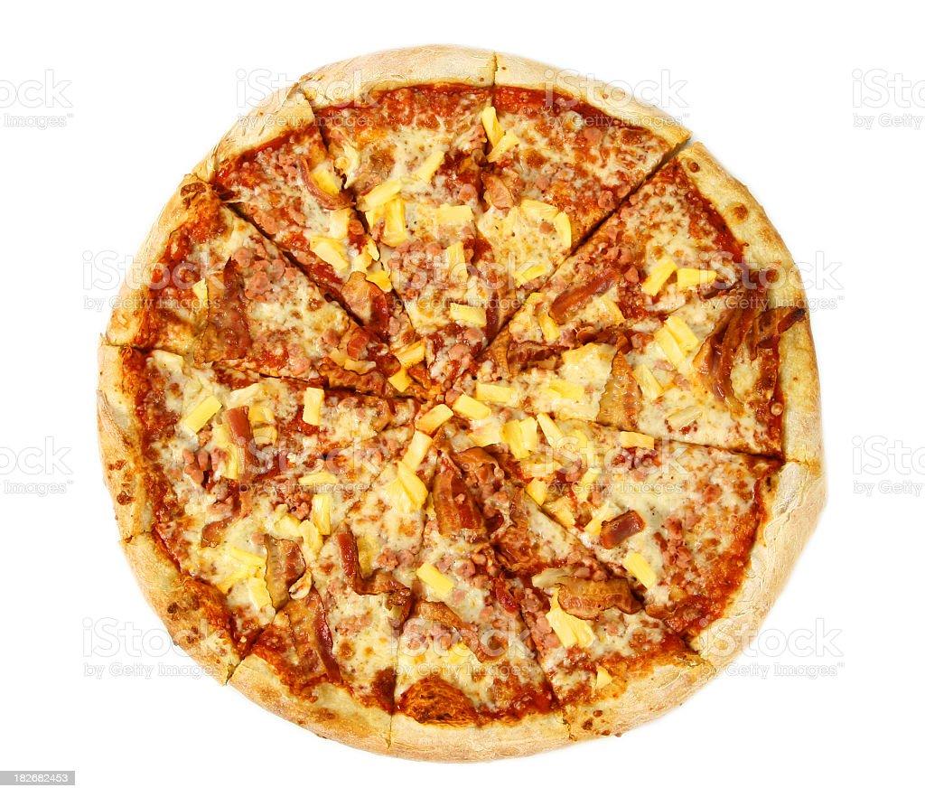 Pizza from the top – Hawaiian royalty-free stock photo