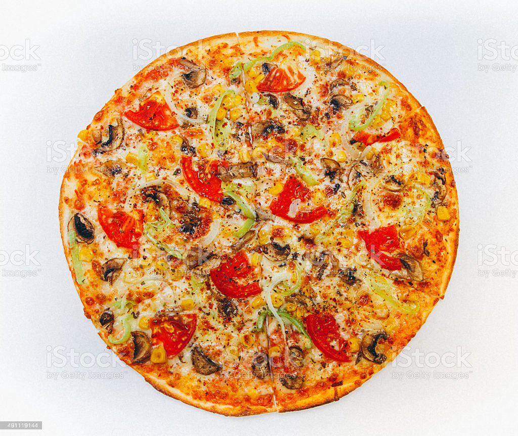 Pizza from the top stock photo