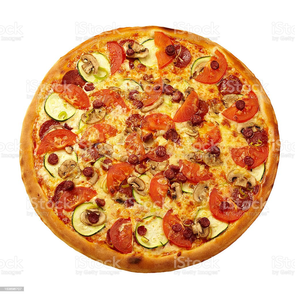 Pizza from the top - Rich royalty-free stock photo