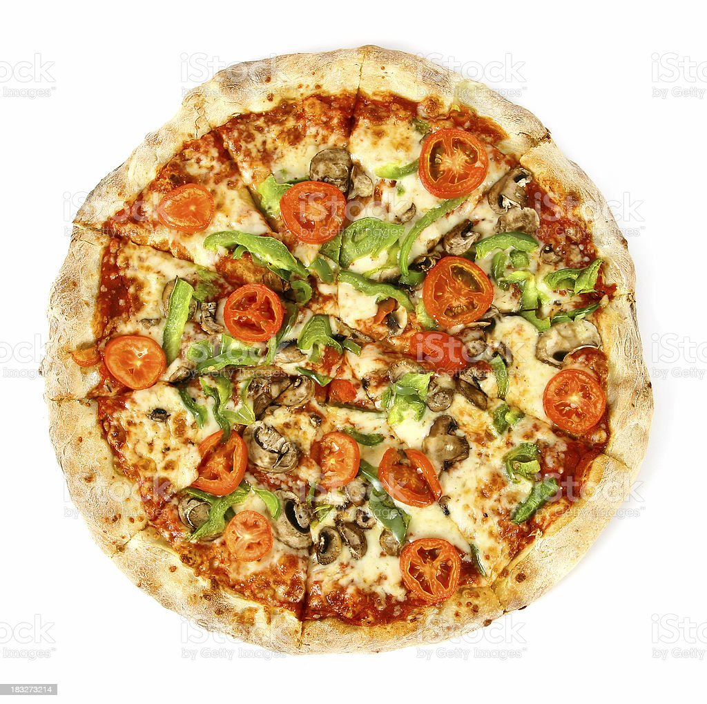 Pizza from the top - Vegetarian stock photo