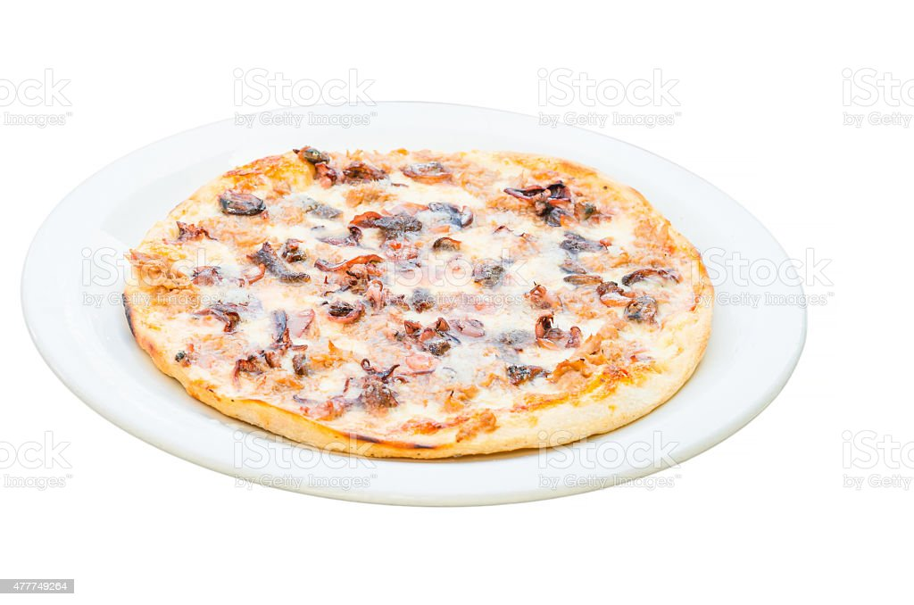 Pizza Frutti di mare, picture isolated. stock photo