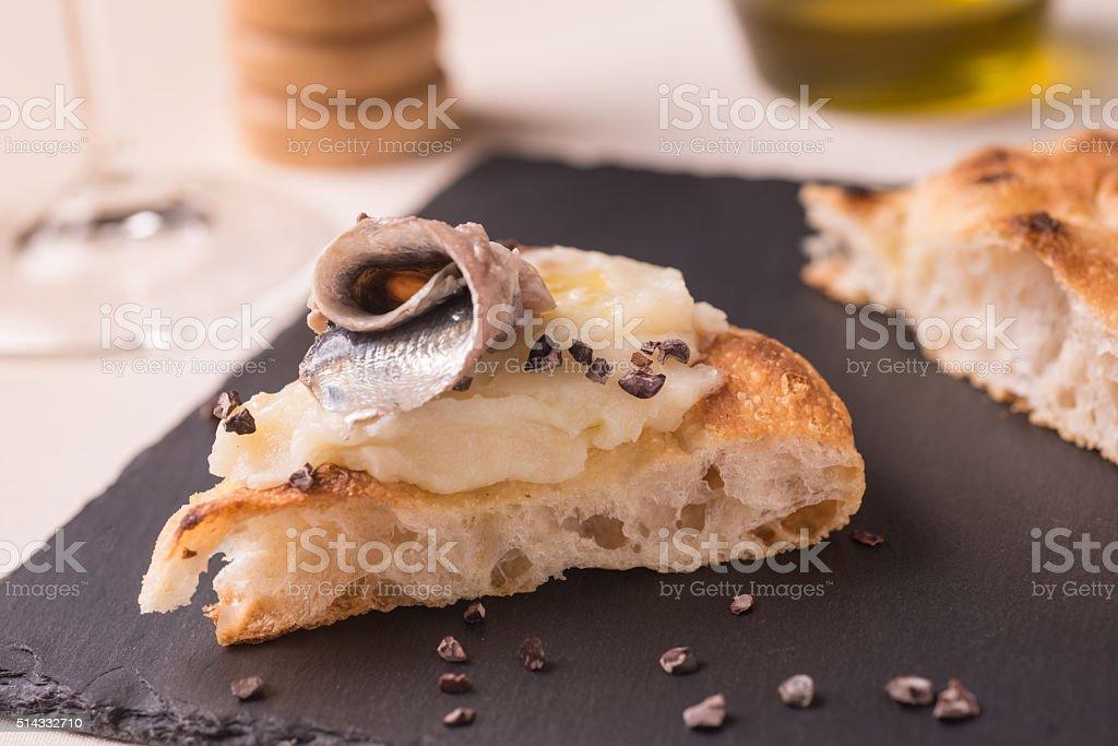 Pizza gourmet slice stock photo