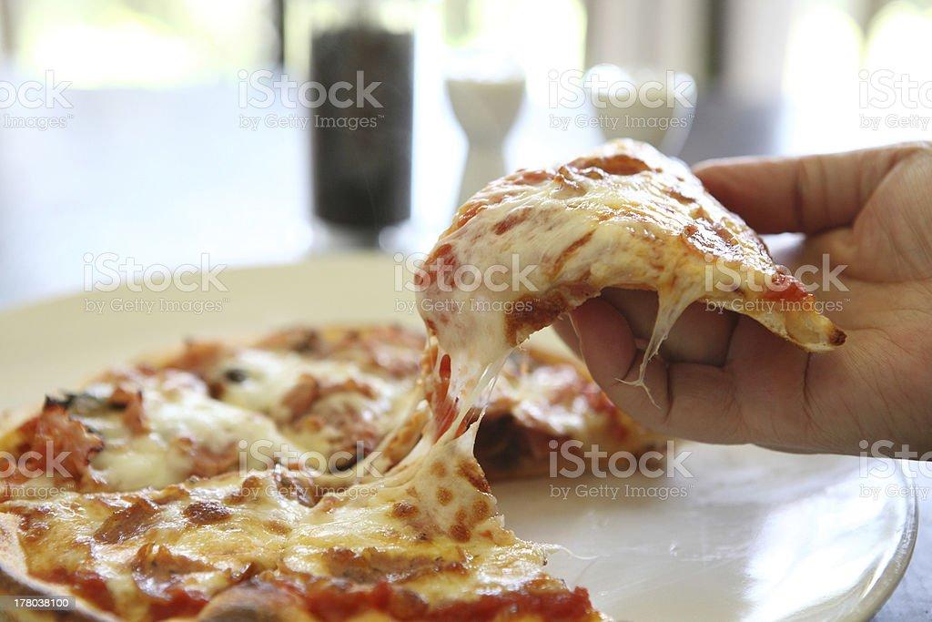 Pizza ham and mushroom royalty-free stock photo