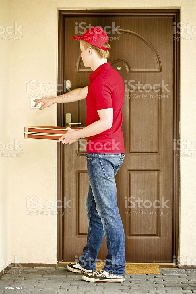 Pizza home delivery stock photo