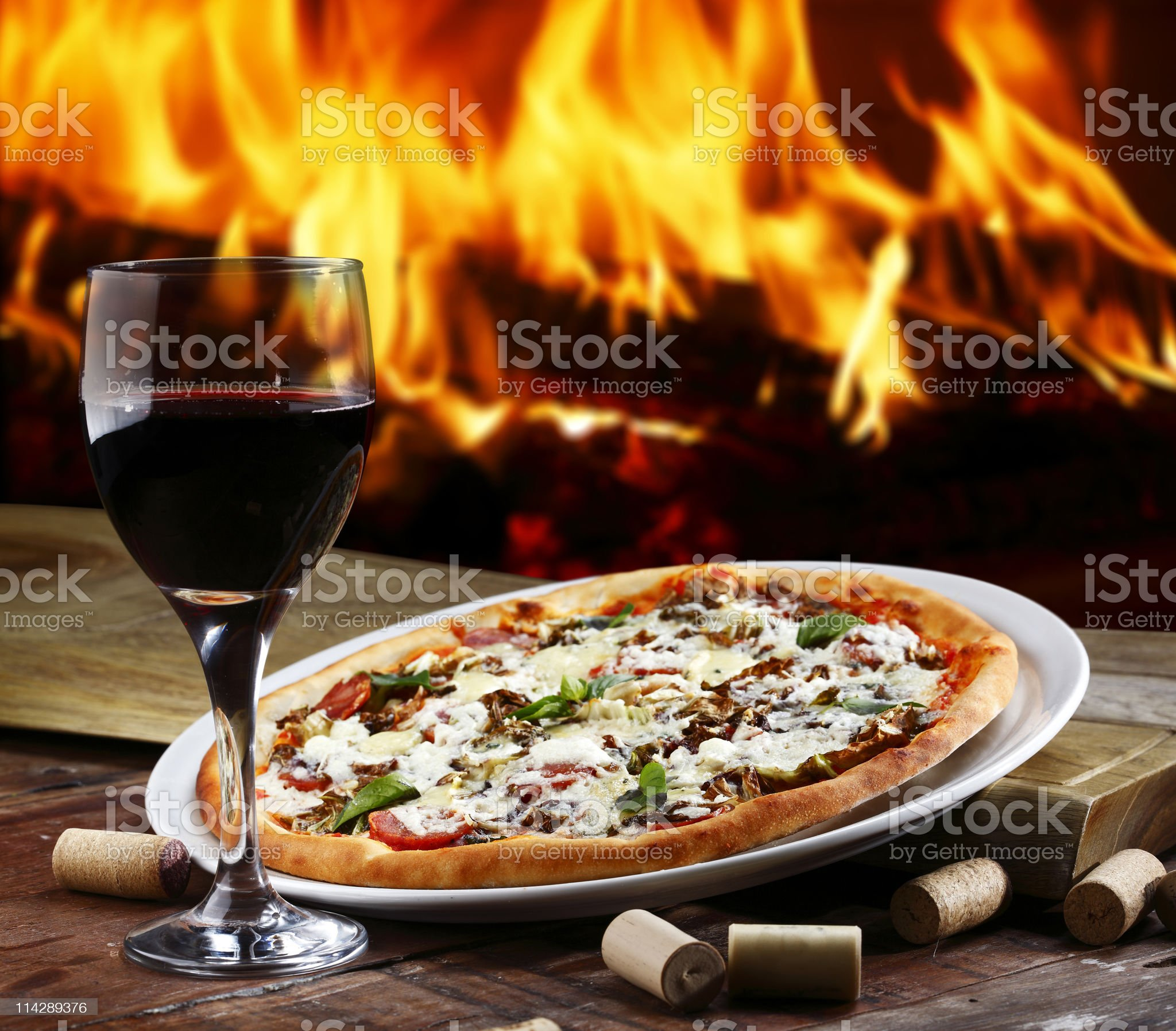 Pizza in a Wood Burning oven royalty-free stock photo
