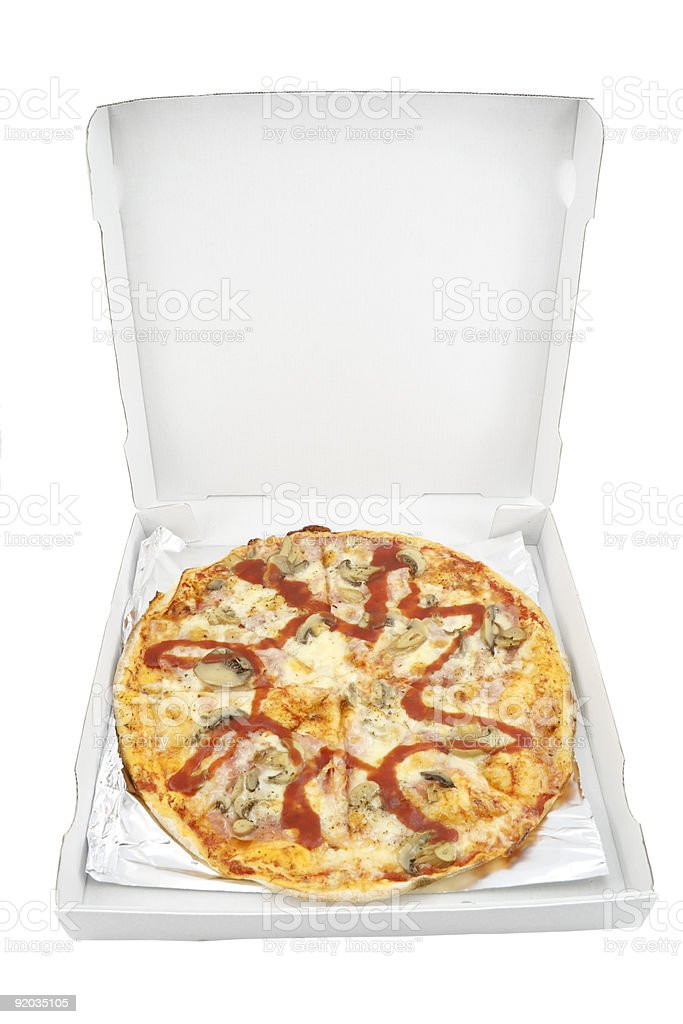 Pizza in box isolated on white background royalty-free stock photo