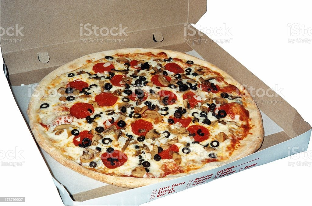 Pizza in the box stock photo