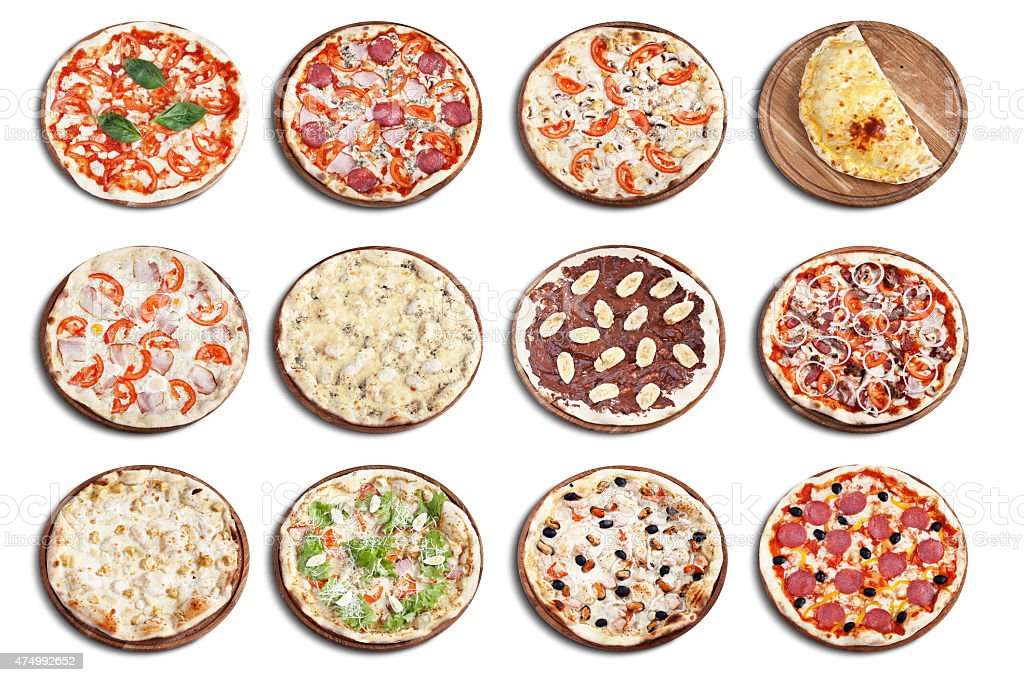 Pizza isolated collection stock photo