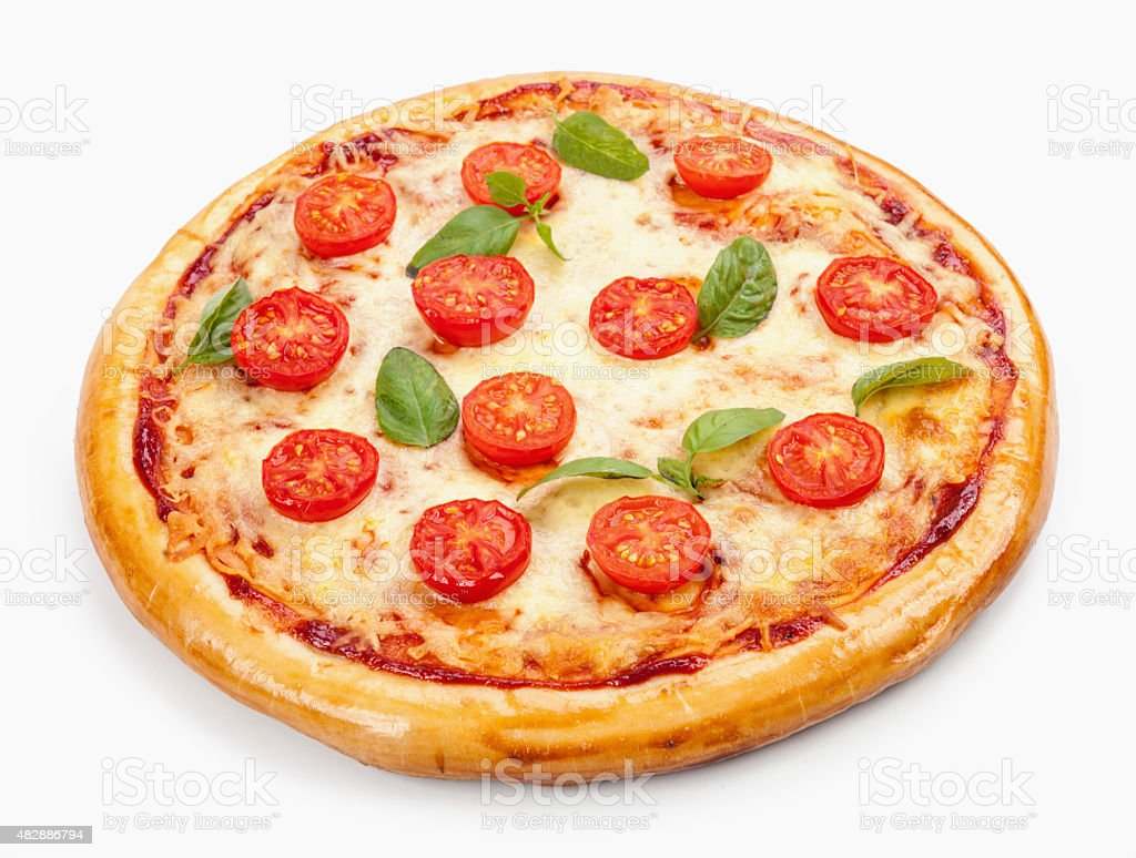 Pizza Margherita. Tomato, basil leafs. Isolated on white backgro stock photo