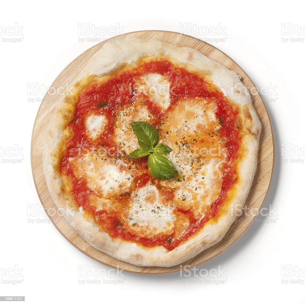Pizza Margherita, tomato, mozzarella, basil, on wooden plate, white background stock photo