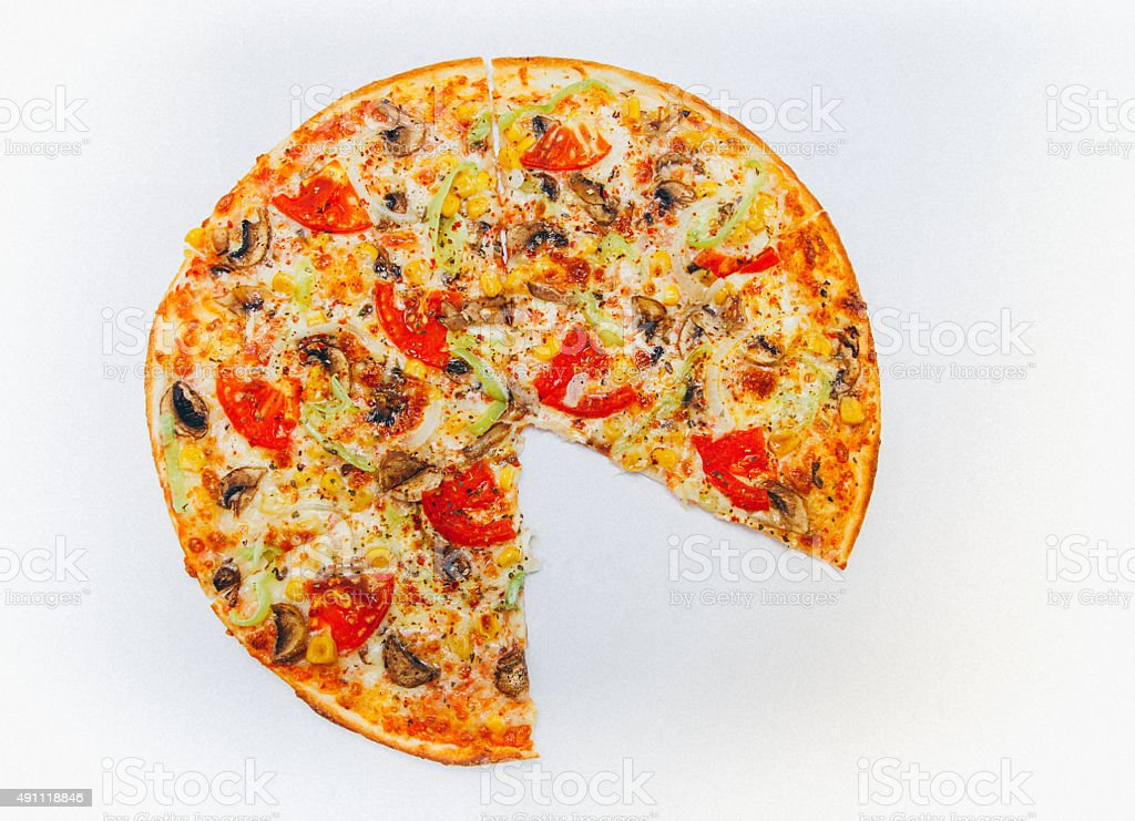 Pizza missing one piece stock photo