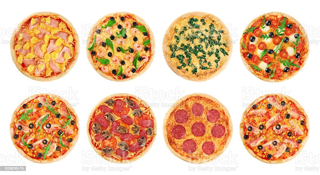Pizza on a white background. Collection. stock photo