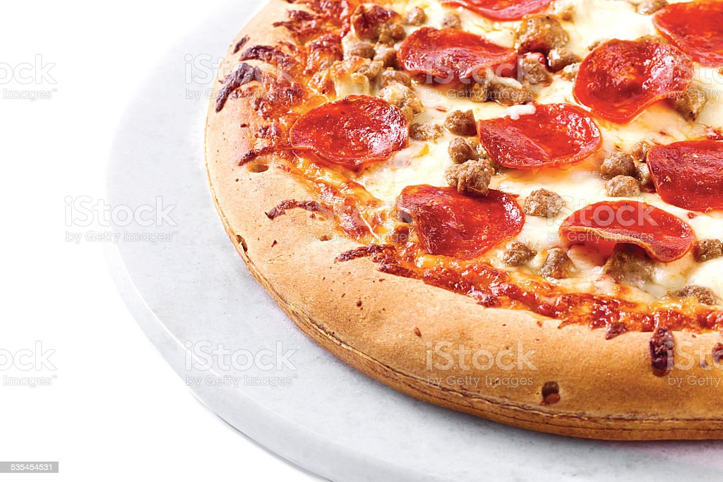 pizza on a white plate stock photo