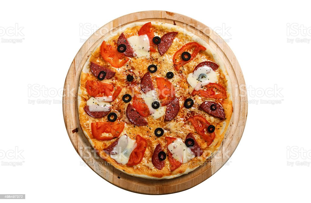 Pizza on light wooden background top view stock photo