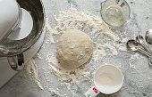 Pizza or Bread Dough Aerial View on Marble