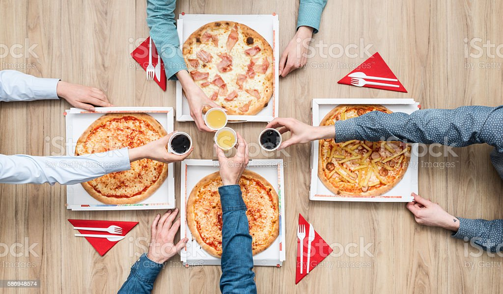 Pizza party stock photo
