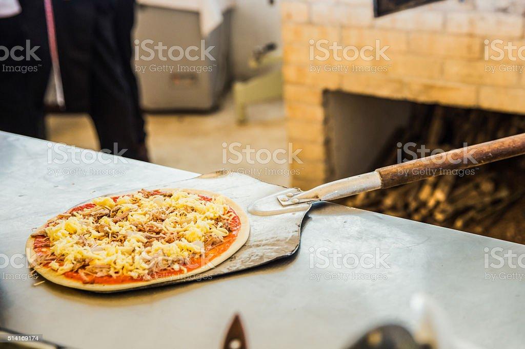 Pizza peel stock photo