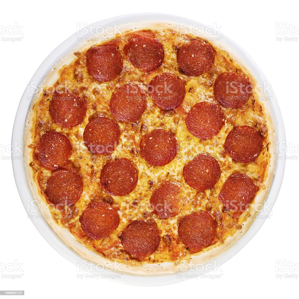Pizza pepperoni from the top stock photo