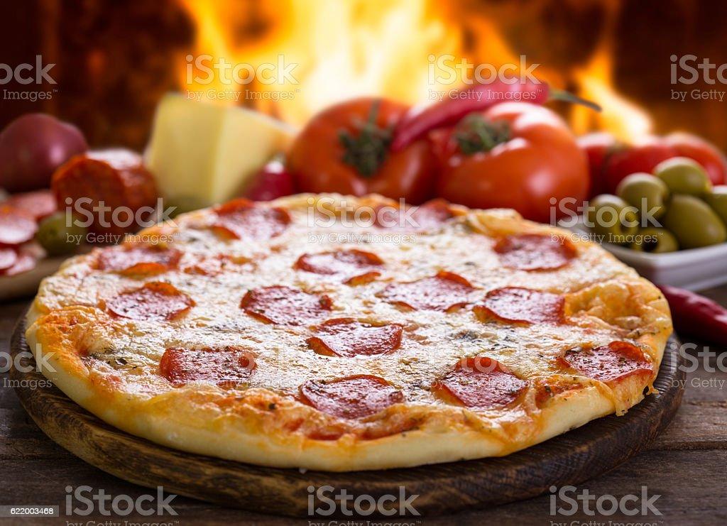 Pizza pepperoni stock photo