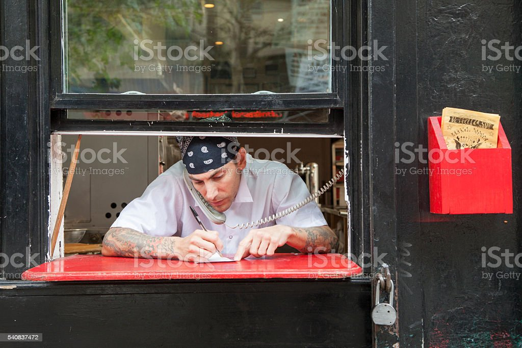 Pizza place chef stock photo