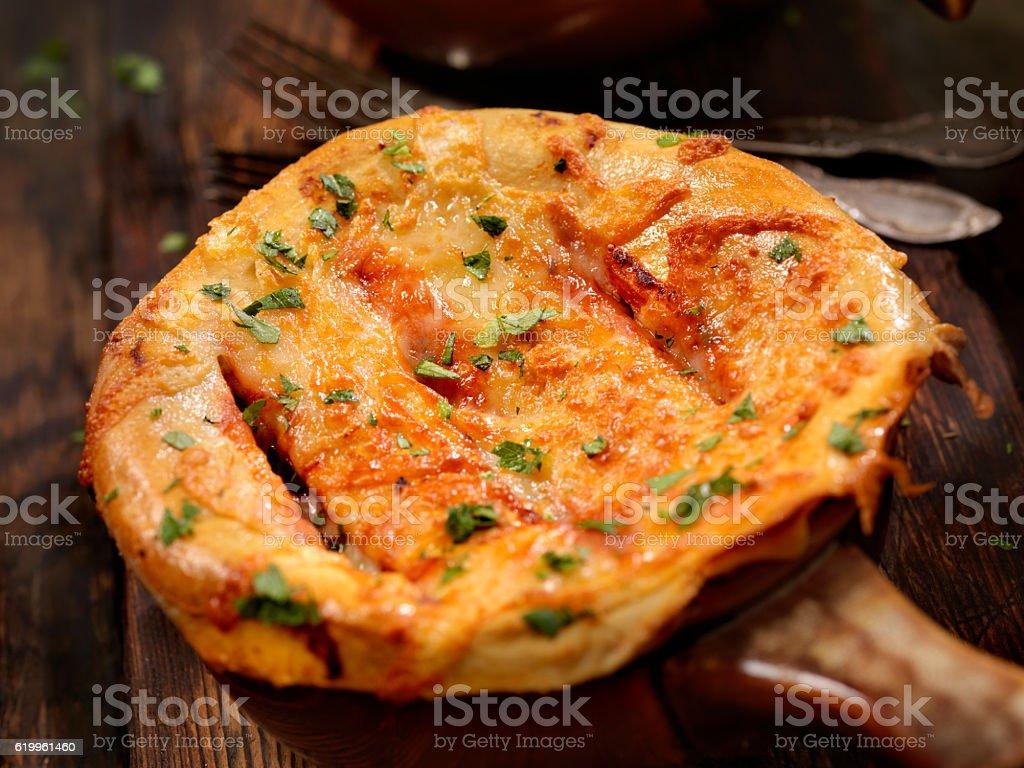 Pizza Pot Pie stock photo