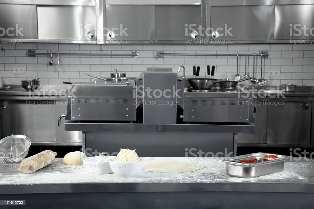 Pizza preparation bench stock photo