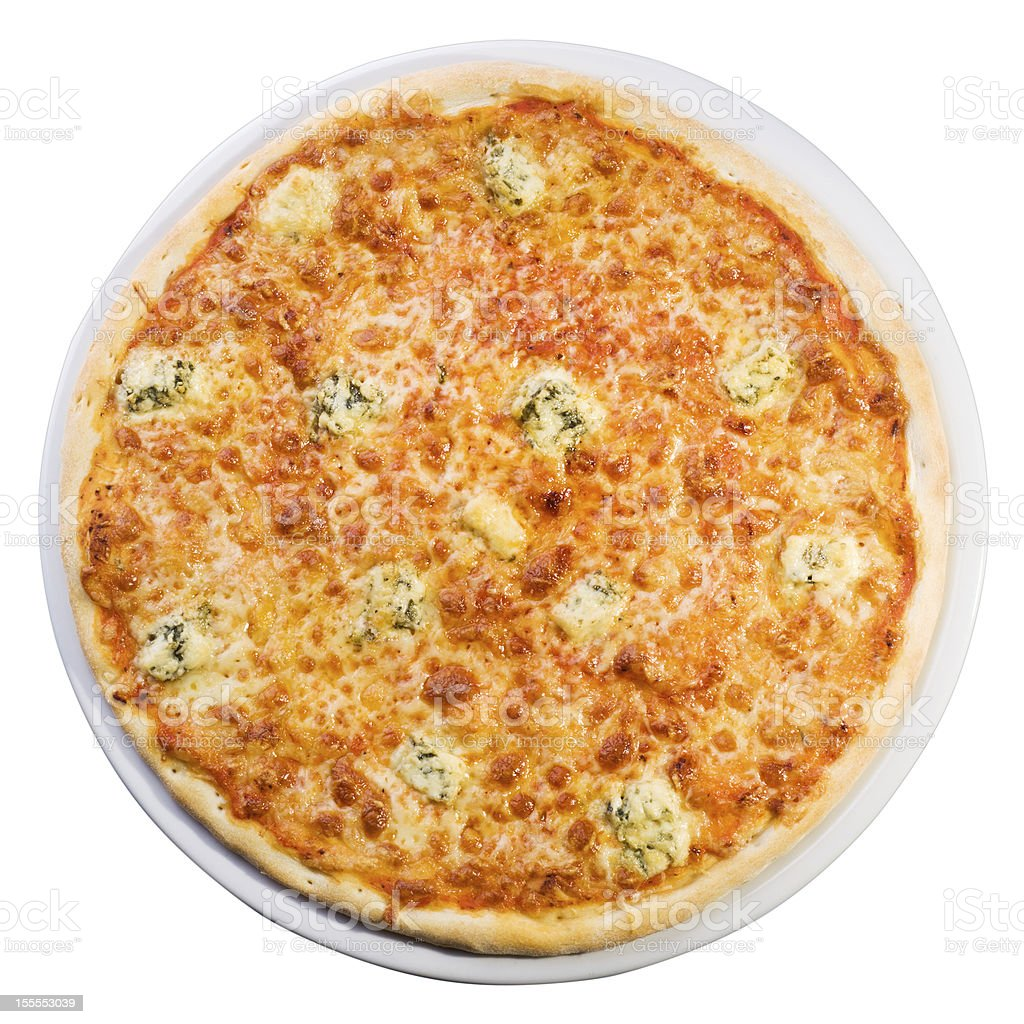 Pizza quattro formaggi from the top royalty-free stock photo