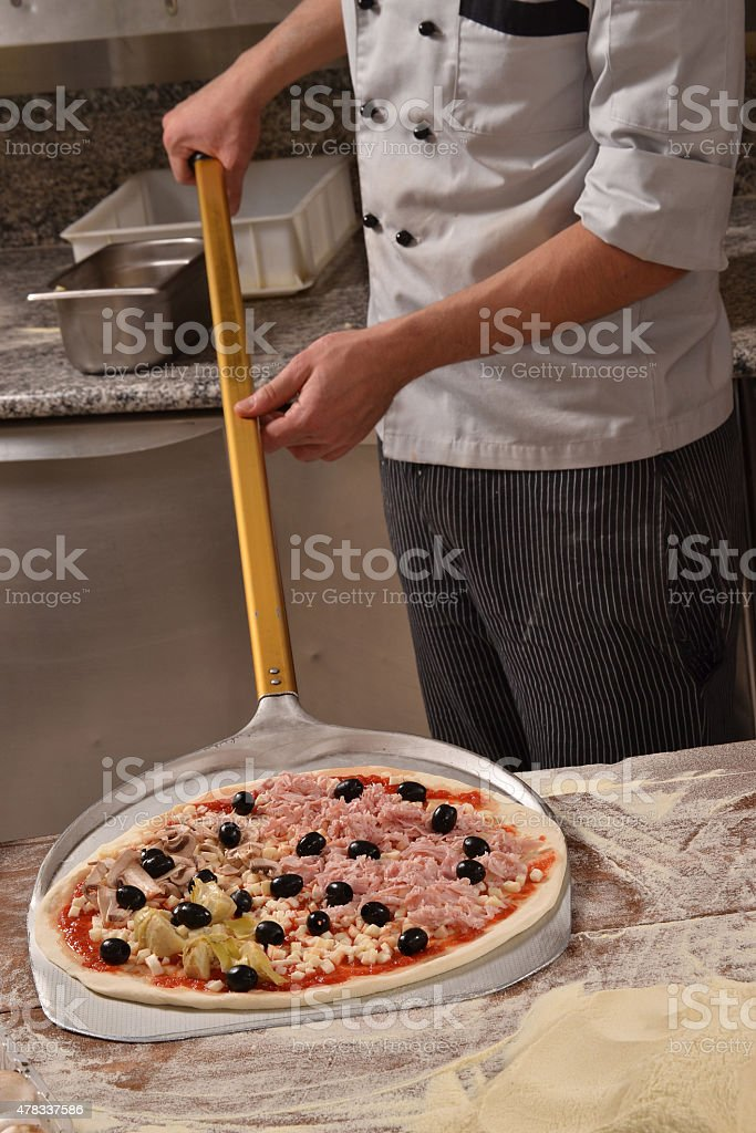 pizza ready for baked stock photo