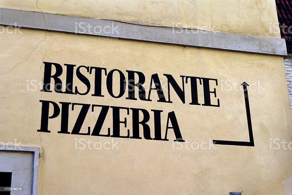 Pizza Restaraunt Sign Prague royalty-free stock photo