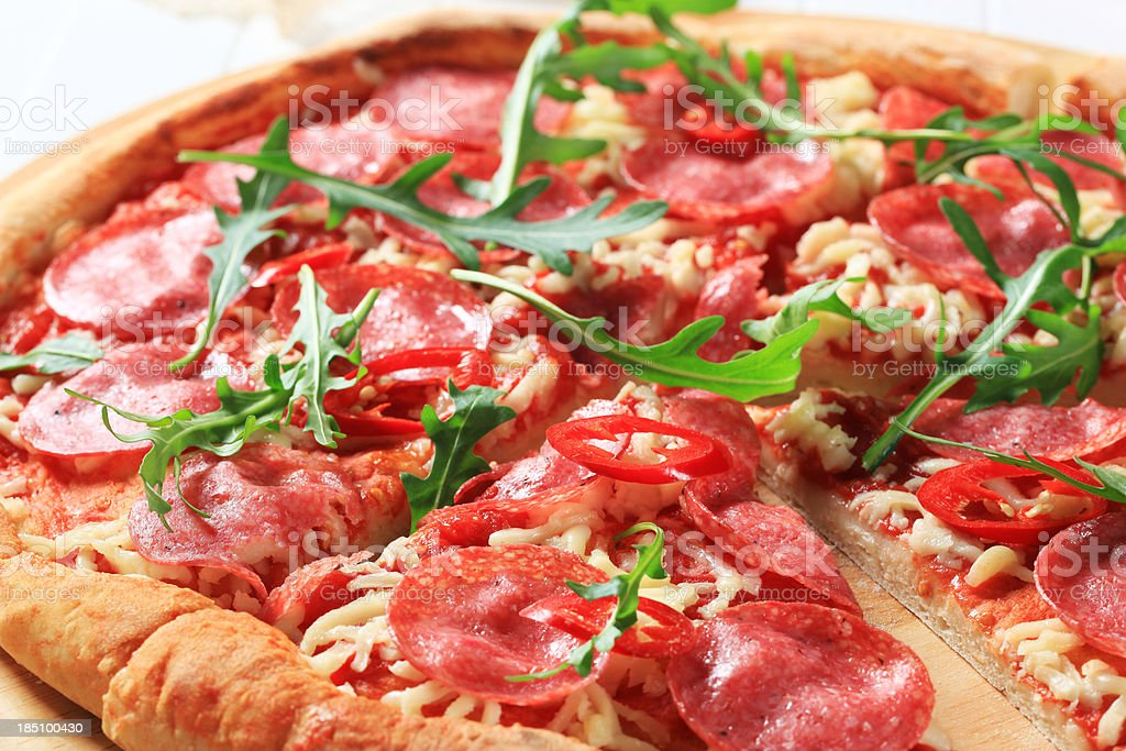Pizza salami royalty-free stock photo