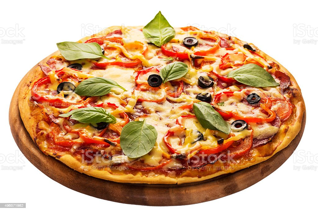 pizza served on wooden plate isolated on white stock photo