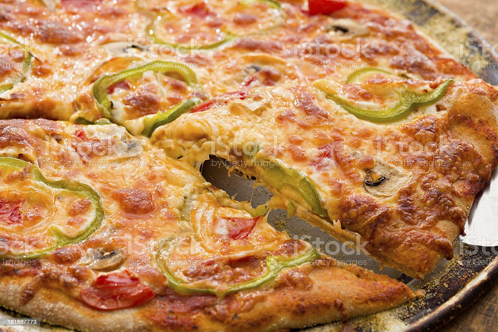 Pizza Slice Cheese Pull royalty-free stock photo