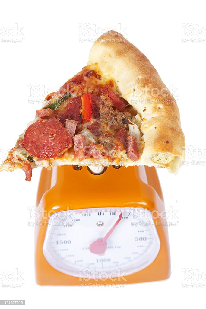 pizza slice on a scale royalty-free stock photo