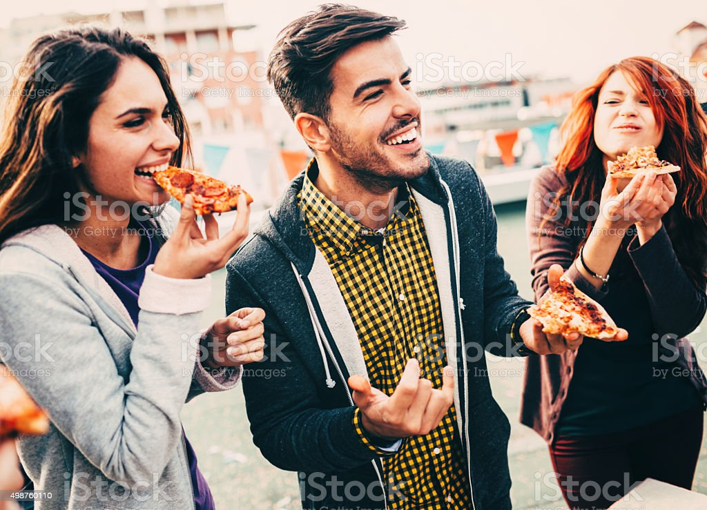 Pizza time on the roof stock photo