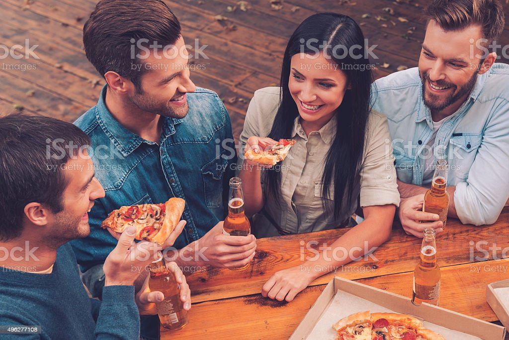 Pizza time. stock photo