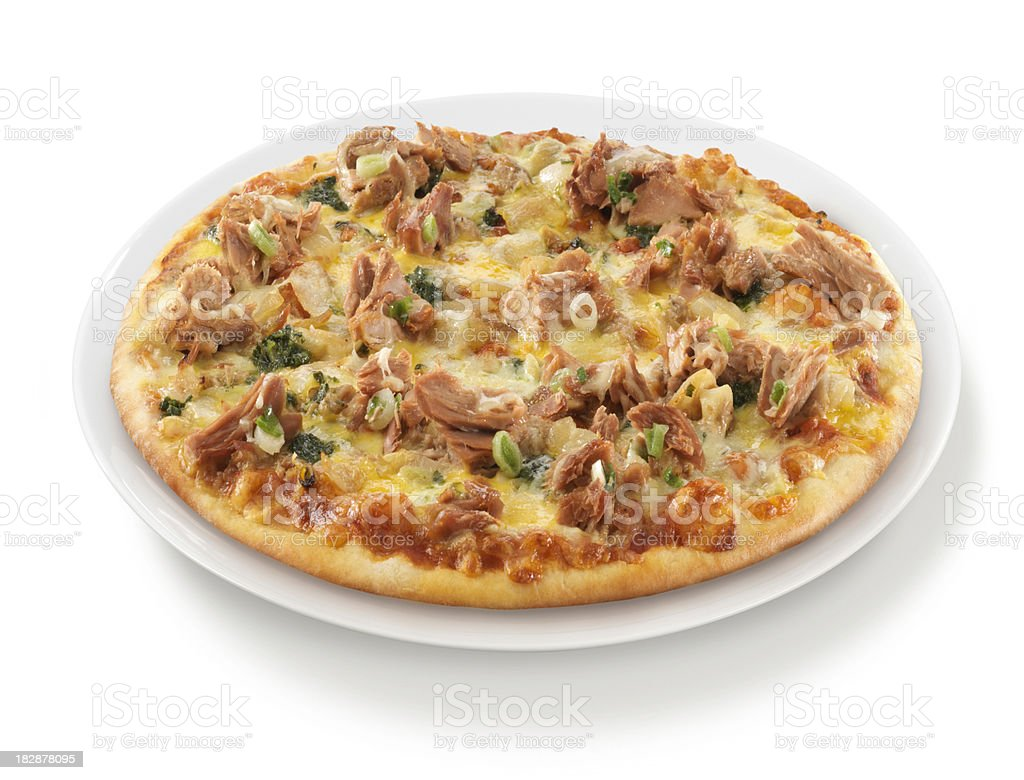 Pizza Tuna Onion Herbs on Plate royalty-free stock photo