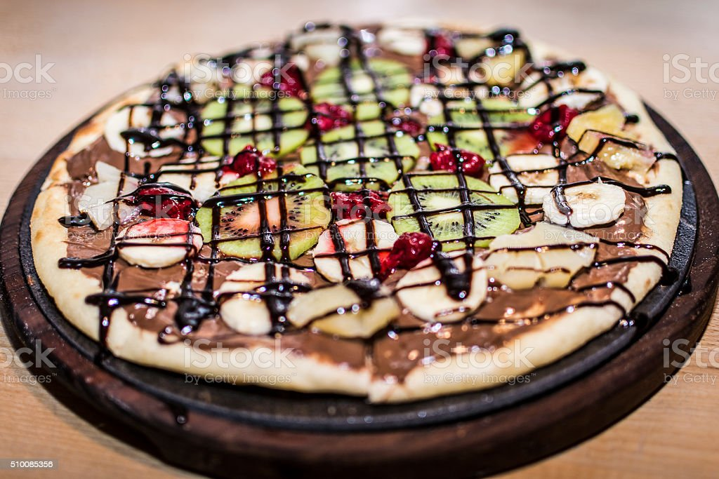 Pizza whit fruit and chocolate stock photo