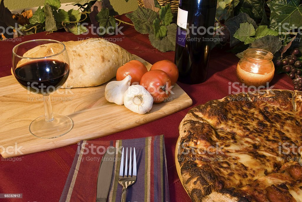 Pizza wine and Italy royalty-free stock photo