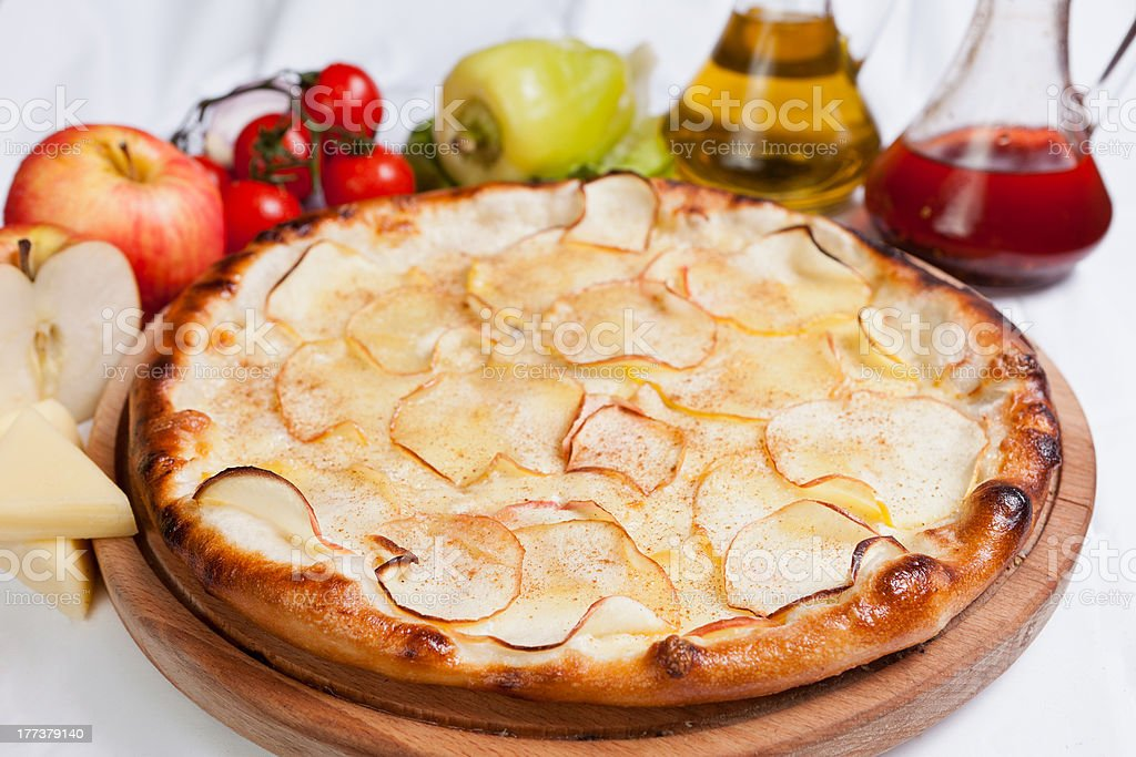 Pizza with Apple stock photo