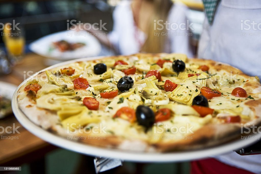 Pizza with black olives  XXL royalty-free stock photo