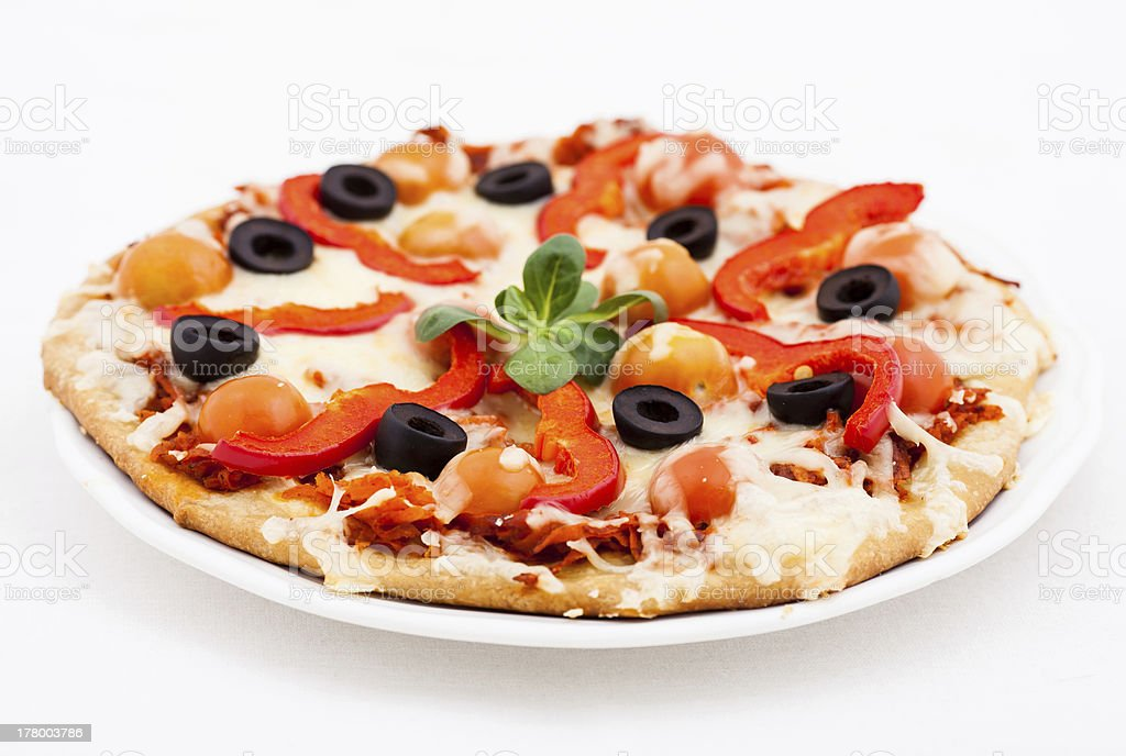 Pizza with  Cheese and Fresh Tomato royalty-free stock photo