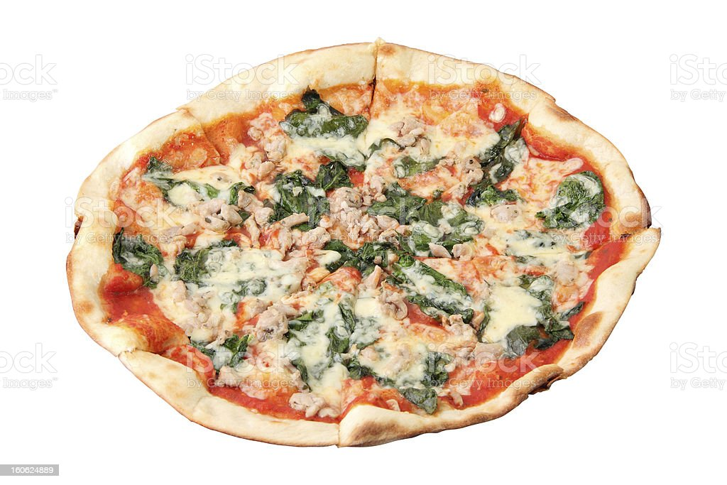 Pizza with Chicken and Spinach royalty-free stock photo