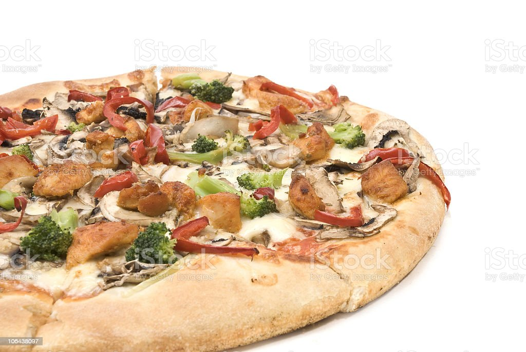 Pizza with chicken, mushrooms, pepper and broccoli. stock photo