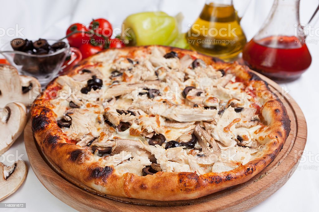 Pizza with Chicken stock photo