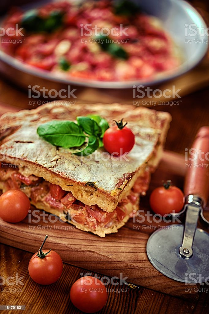 Pizza with fresh tomato and cheese stock photo