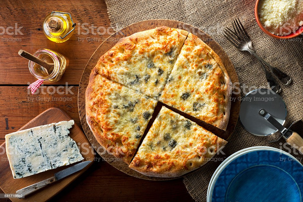 Pizza with Gorgonzola Blue Cheese stock photo
