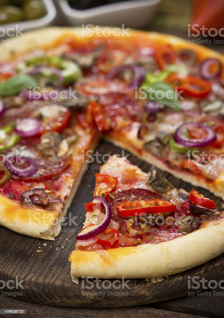 Pizza with ham, mushrooms and cheese royalty-free stock photo